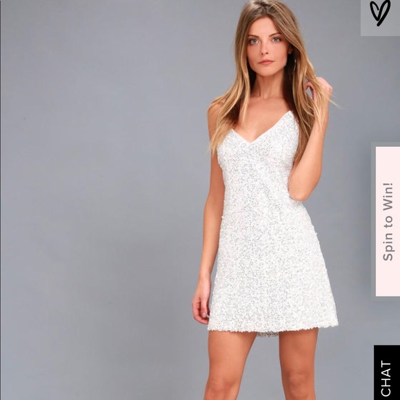 5692bd9705e3a5 Lulu's Dresses | Lulu White Sparkly Homecoming Dress | Poshmark